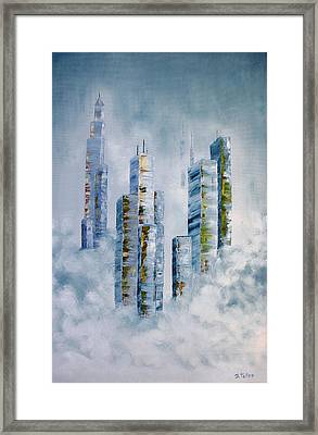Blue Rising Framed Print by Barbara Teller