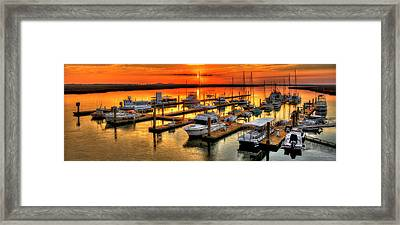Blue River Marina Sunrise Panorama Art Framed Print