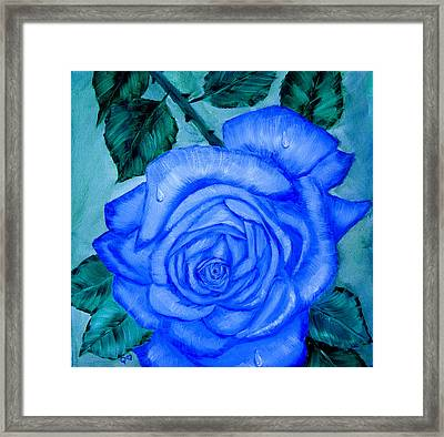 Framed Print featuring the painting Blue Rose by Quwatha Valentine