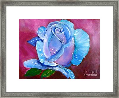 Blue Rose With Dew Drops Framed Print by Jenny Lee