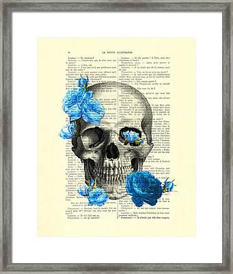 Blue Roses With Skull Art Print Framed Print