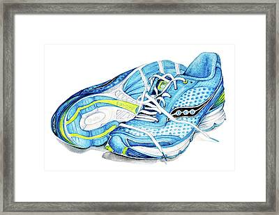 Blue Running Shoes Framed Print