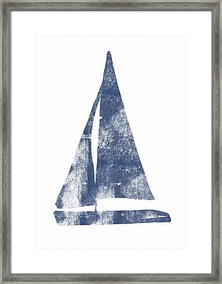 Blue Sail Boat- Art By Linda Woods Framed Print by Linda Woods
