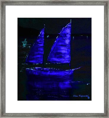 Blue Sail Night Crop Framed Print by Ken Figurski