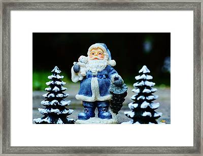 Blue Santa Christmas Card Framed Print by Bellesouth Studio