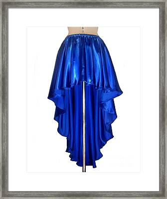 Blue Satin High-low Skirt. Ameynra Design. Pic-1 Framed Print by Sofia Metal Queen