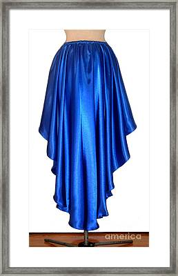 Blue Satin High-low Skirt. Ameynra Design. Pic-2 Framed Print by Sofia Metal Queen