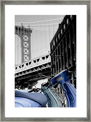 Blue Scooter Framed Print by Silvia Bruno