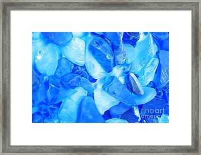 Blue Sea Glass Framed Print