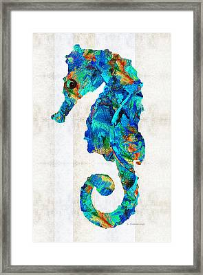 Blue Seahorse Art By Sharon Cummings Framed Print