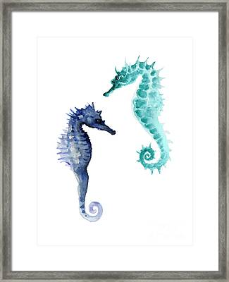 Blue Seahorses Watercolor Painting Framed Print by Joanna Szmerdt