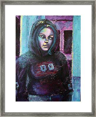 Blue Self Portrait Framed Print by Sarah Crumpler