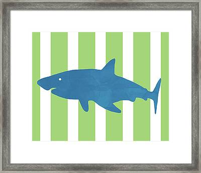 Blue Shark 1- Art By Linda Woods Framed Print