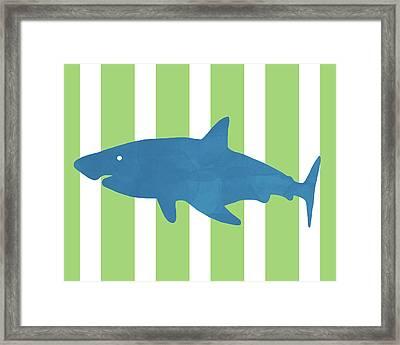 Blue Shark 1- Art By Linda Woods Framed Print