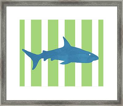 Blue Shark 2- Art By Linda Woods Framed Print