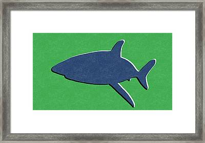 Blue Shark Framed Print by Linda Woods