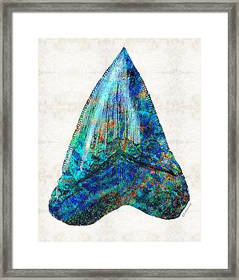 Blue Shark Tooth Art By Sharon Cummings Framed Print by Sharon Cummings