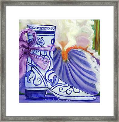 Blue Shoe, Painting Of A Painting Framed Print