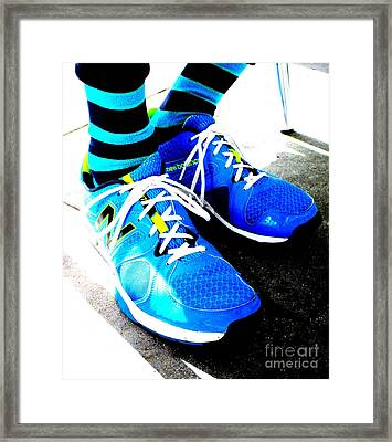Blue Shoes And Socks Framed Print by Randall Weidner