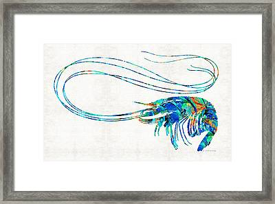 Blue Shrimp Art By Sharon Cummings Framed Print by Sharon Cummings