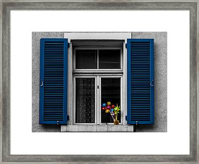 Blue Shuttered Window Framed Print by Kaleidoscopik Photography
