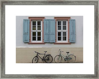 Blue Shutters And Bicycles Framed Print