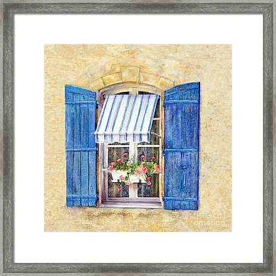 Blue Shutters Framed Print by Bonnie Rinier