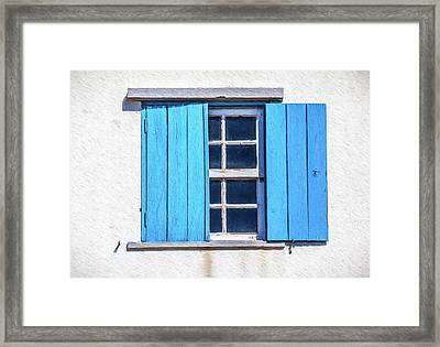 Blue Shutters Of Peniche Framed Print by David Letts