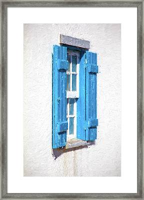 Blue Shutters Of Portugal Framed Print by David Letts