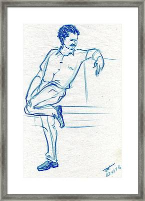 Blue Sketch Of A Man Waiting For Someone Framed Print by Makarand Joshi