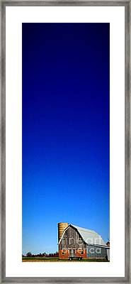 Blue Skies And Barns Framed Print