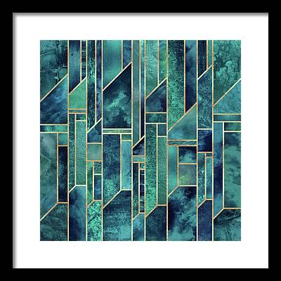 Green Blue Framed Prints