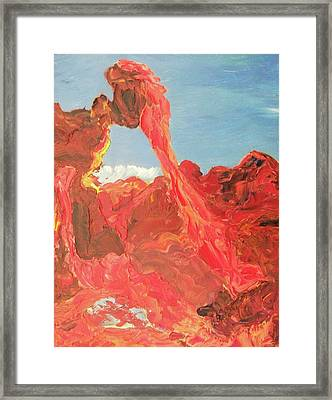 Blue Sky And Orange Rocks Framed Print by Suzanne  Marie Leclair