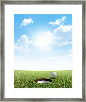 Blue Sky And Putting Green Framed Print by Allan Swart