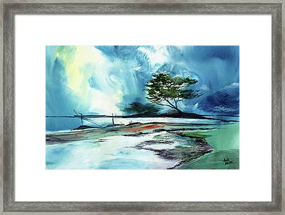 Framed Print featuring the painting Blue Sky by Anil Nene