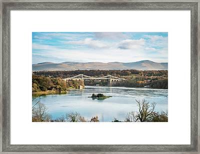 Blue Sky At Menai Bridge, North Wales Framed Print