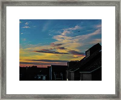Blue Sky Colorful Sunset Framed Print by Cesar Vieira