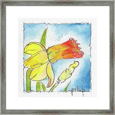 Framed Print featuring the painting Blue Sky Daffodils by Pat Katz