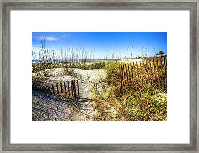 Framed Print featuring the photograph Blue Sky Dunes by Debra and Dave Vanderlaan