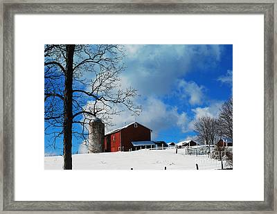 Framed Print featuring the photograph Blue Sky Farm by Lila Fisher-Wenzel