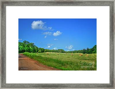 Blue Sky Hayfield Double Bridges Road Art Framed Print