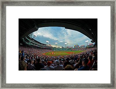 Blue Sky Over Fenway Park Fisheye Framed Print by Toby McGuire