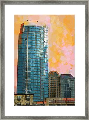 Framed Print featuring the photograph Blue Skyscraper Seattle by Yulia Kazansky