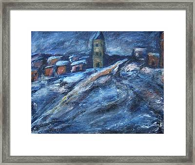 Blue Snow City Framed Print