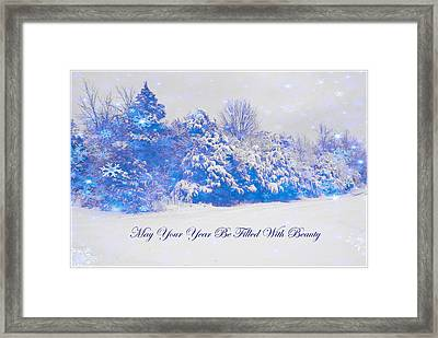 Blue Snowy Christmas Scene Framed Print by Angela Comperry