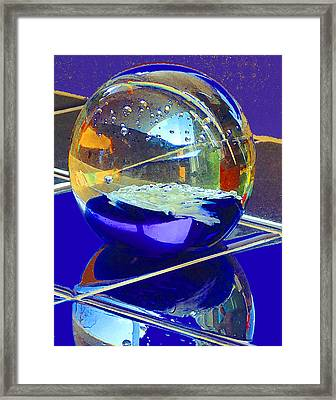Framed Print featuring the digital art Blue Sphere by Jana Russon