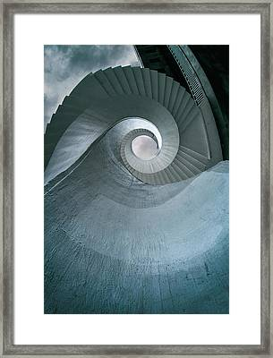 Framed Print featuring the photograph Blue Spiral Stairs by Jaroslaw Blaminsky