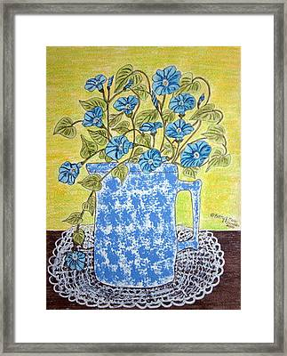 Framed Print featuring the painting Blue Spongeware Pitcher Morning Glories by Kathy Marrs Chandler