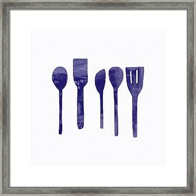 Blue Spoons- Art By Linda Woods Framed Print by Linda Woods