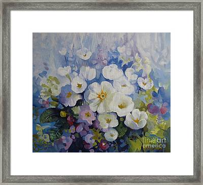 Framed Print featuring the painting Blue Spring by Elena Oleniuc